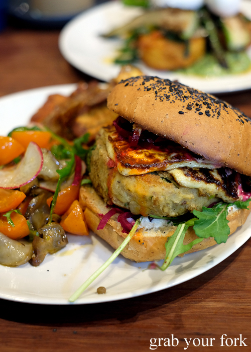Falafel cheeseburger at Two Chaps vegetarian cafe in Marrickville