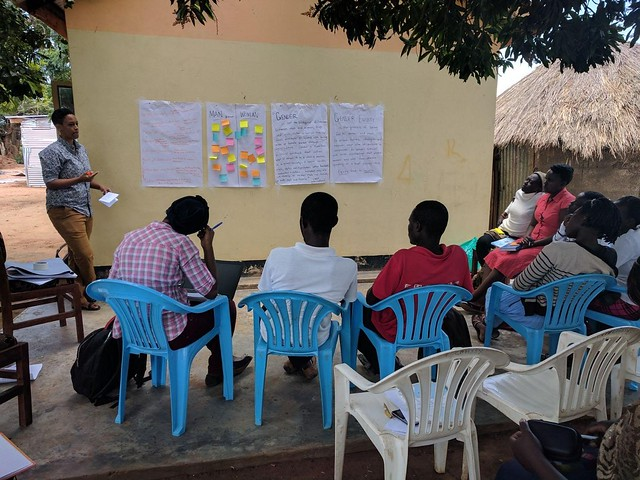 Leading a workshop with Busitema students on gender equity in the design of irrigation systems in Soroti, Uganda