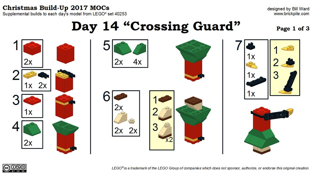"Christmas Build-Up 2017 Day 14 MOC ""Crossing Guard"" Instructions p1"