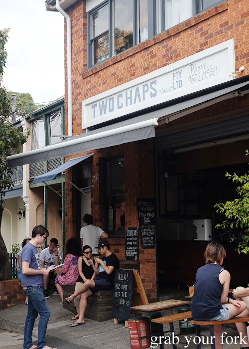 Weekend queue at Two Chaps vegetarian cafe in Marrickville
