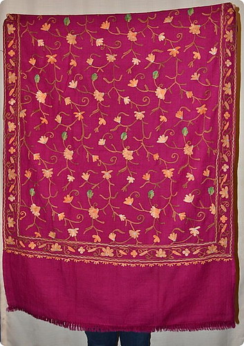 Nepalese embroidery on 70-30 pashmina silk. Shopping for Pashmina in Kathmandu: A Complete Guide