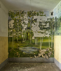 "Birch tree landscape mural inside an abandoned Soviet barrack. In the middle a electrical fuse box with the warning: ""380V danger of electric stroke"""