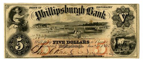 Lot 444. Philipsburgh, NJ. Phillipsburgh Bank 1863 $5 Obsolete Banknote.
