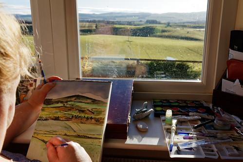 artist painting watercolour paper view paints brushes landscape strathmore valley angus scotland eos5dmkiv ef2470f28llusm canon window craigton