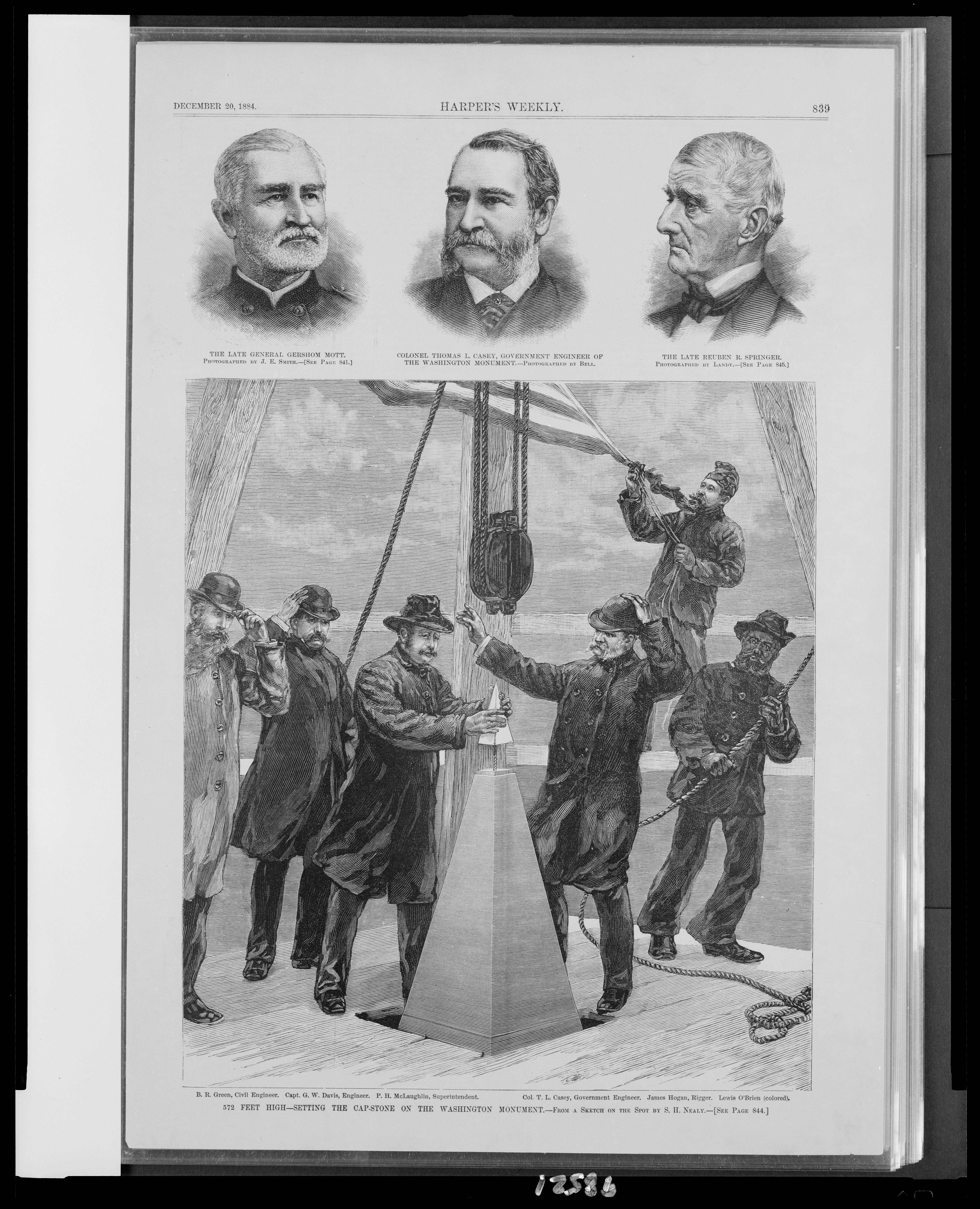 P. H. McLaughlin setting the capstone (aluminum apex) on the Washington Monument. Colonel Thomas Lincoln Casey has his hands up. An illustration from Harper's Weekly, December 20, 1884, page 839. Accompanying article on pages 844-5.