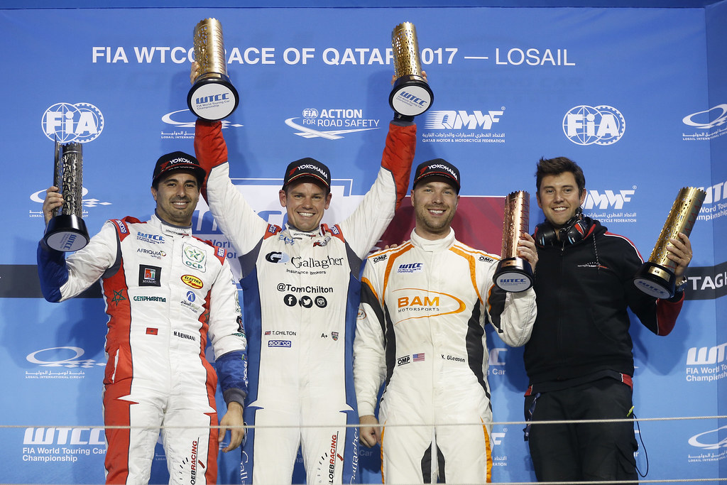 PODIUM RACE 1 BENNANI Mehdi, (mor), Citroen C Elysee team Sebastien Loeb Racing, ambiance portrait, CHILTON Tom, (gbr), Citroen C Elysee team Sebastien Loeb Racing, ambiance portrait, GLEASON Kevin, (usa), Lada Vesta team RC Motorsport, ambiance portrait during the 2017 FIA WTCC World Touring Car Championship race at Losail  from November 29 to december 01, Qatar - Photo Jean Michel Le Meur / DPPI