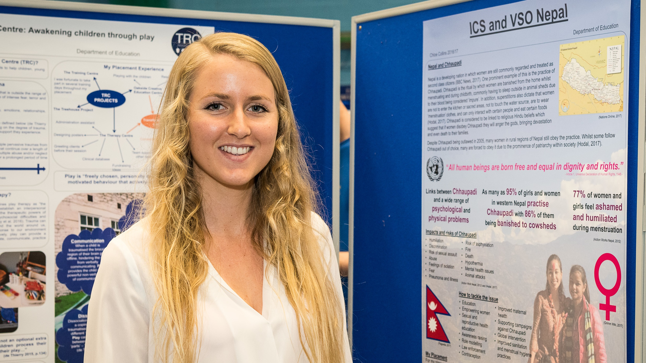 Chloe Collins presenting her placement poster at the Faculty Posters Exhibition