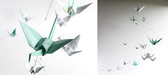 Ocean Themed Printed Paper Crane Mobile