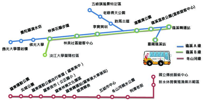 台灣好行礁溪及冬山河線路線圖