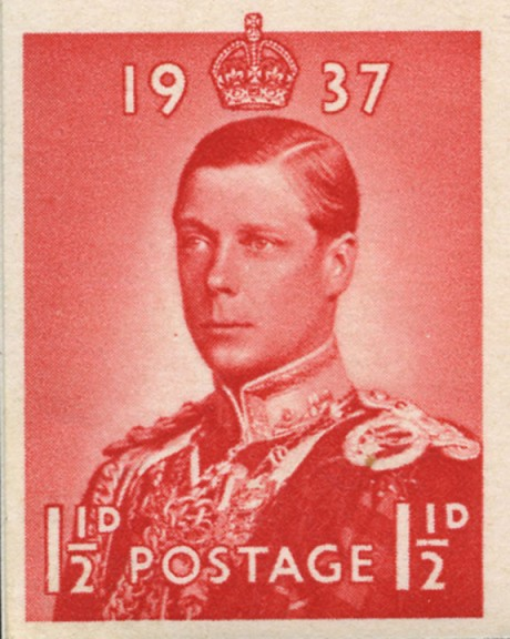 1 1/2-penny red essay for unissued Edward VIII Coronation issue, planned for May 1937.
