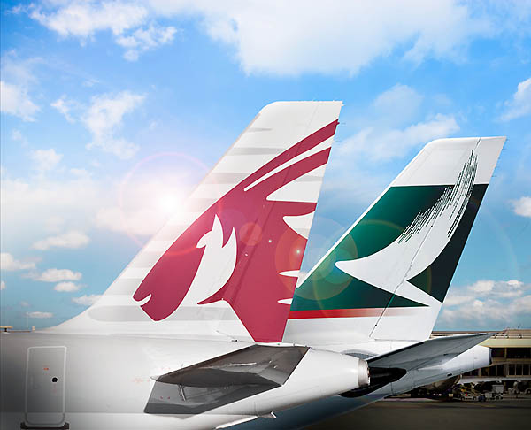Qatar Airways y Cathay Pacific (Qatar Airways)