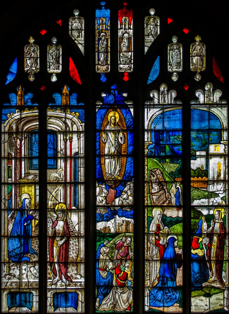 The Transfiguration of Christ. Stained glass window in St Mary's Church, Fairford, Gloucestershire. Credit Julian P Guffogg