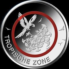 Polymer 5 euro coin obverse