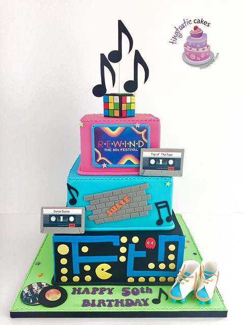 80's Themed Cake by Tingtastic Cakes