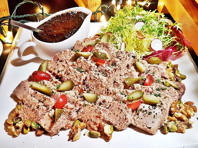 Marinated Duck Rillettes, Red Wine Dried Fruit Chutney, Gherkin Salsa