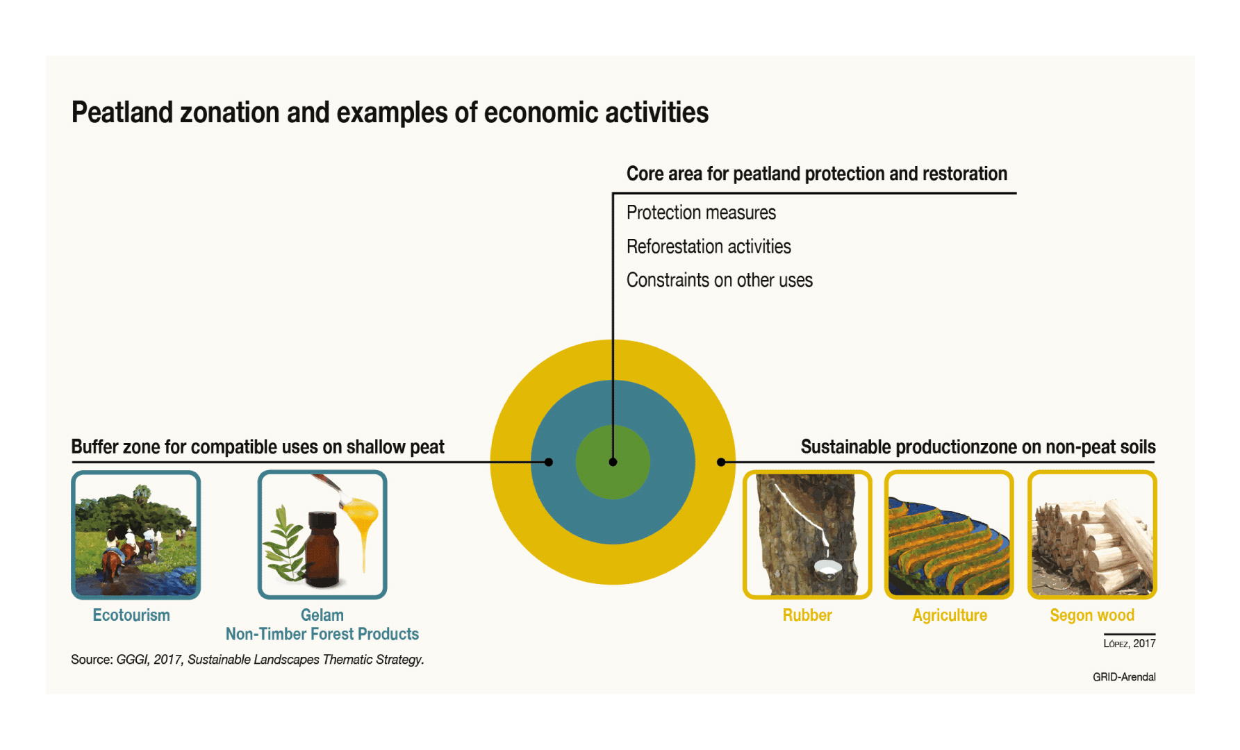 Peatland Zonation And Examples Of Economic Activities Grid Arendal