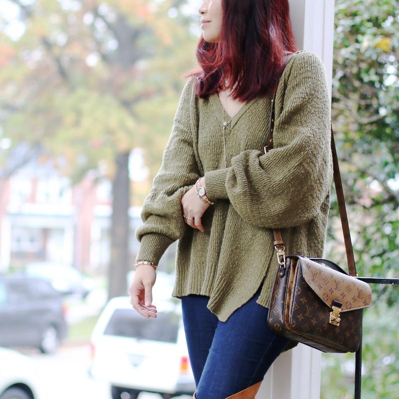 anne-klein-watch-bracelets-louis-vuitton-pochette-bag-green-sweater-jeans-1