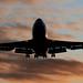 Silhouetted 747-400.