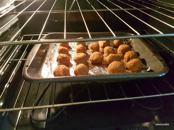 sweet potato quinoa meatballs in oven