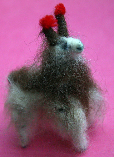 A llama toy made of llama wool bought in the Andes of Argentina