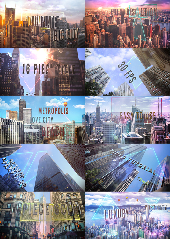 پروژه افتر افکت متن سه بعدی در شهر - Titles of City