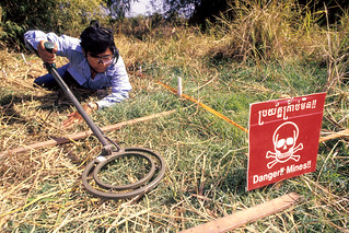 Clearing land mines.