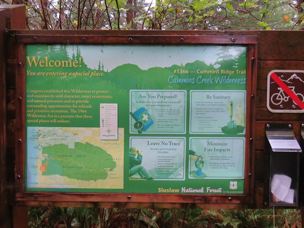 Informational sign board at the lower trailhead