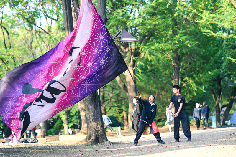 Swinging huge flag at Ueno Park
