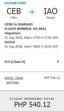 Cebu to Siargao Promo August 1, 2018