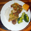 #3673 Sunday dinner: Pacific meatballs, rice, cornbread, broccoli by Nemo's great uncle