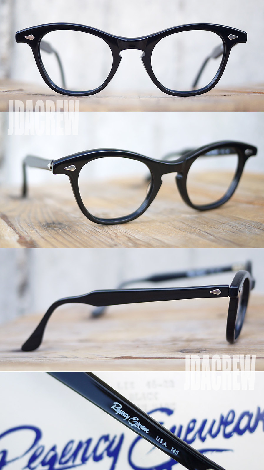 タートオプティカルのリズスタイル、ブラックビンテージメガネ