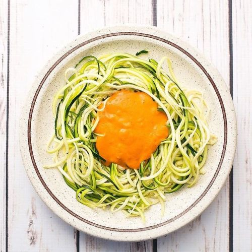 Zoodles with red pepper cashew sauce! Also check out my new…