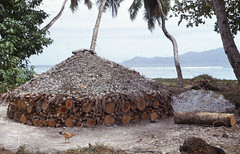 Coral burning for cement, La digue. Heap of quicklime