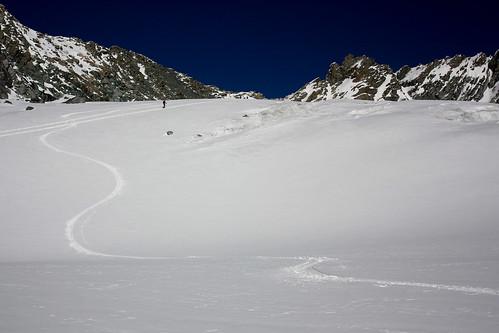 Ma trace sur le glacier de Chavière