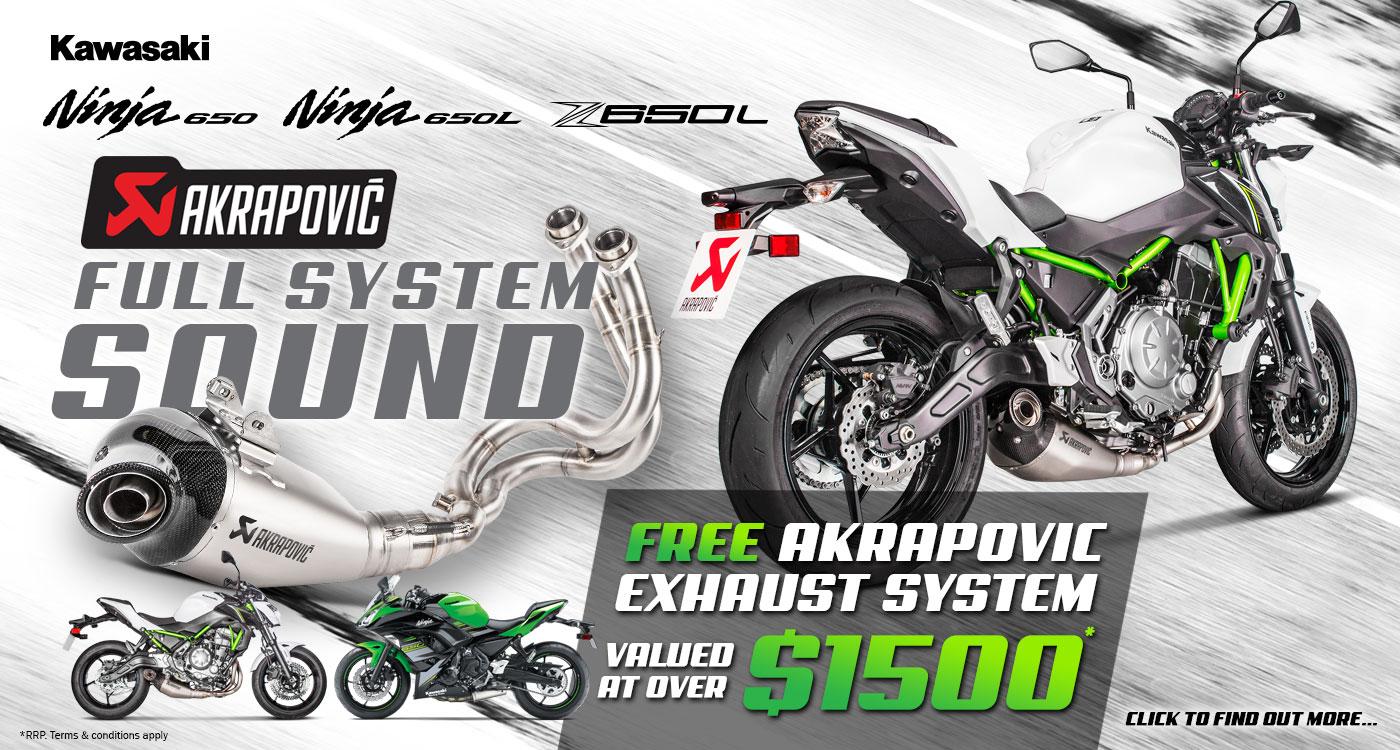 Full System Sound – FREE Akrapovic System on Ninja 650 & Z650