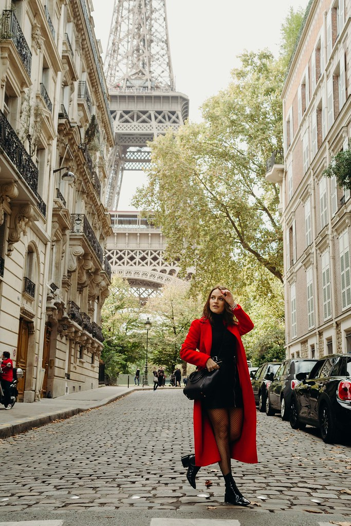 The Little Magpie Claudie Pierlot red coat Paris