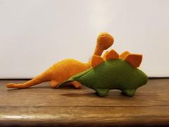 Felt Dinosaurs set #4 - Oranges/Green