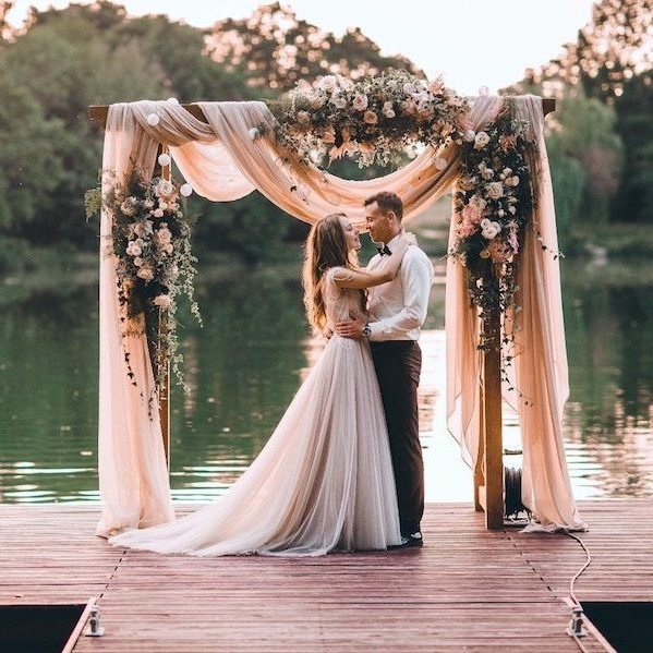 Can we talk about how romantic and whimsical this ceremony set-up is_ Catch more of our round-up of