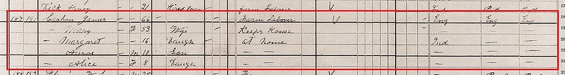 James C 1880 Census Porter Co