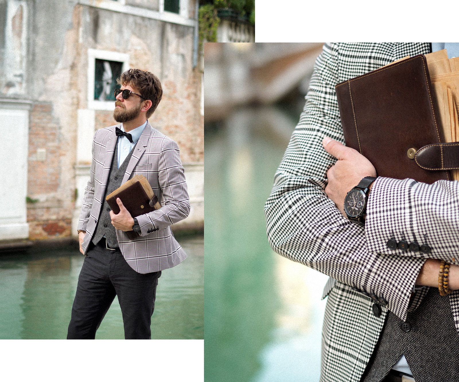 outfit professor glen check blazer autumn trend persol sunglasses intellectual style uni university prof sacha shoes bow tie elegant dandy style indiana jones venice look cats & dogs blog max bechmann 4