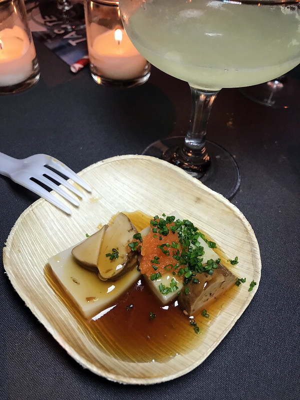 Bar Goto's Gin Margarita, Shiso, Cucumber & Chili cocktail and Suzuki housemade sesame tofu, monkfish liver and bekko soy sauce