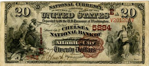 Lot 510. NJ. Chelsea National Bank of Atlantic City, $20 1882 Brown Back