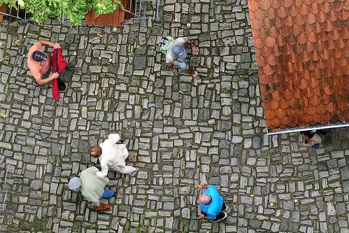 People in castle courtyard