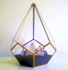Gold Gold Terrarium Crystal Garden Gold Wedding Stained Glass Glass Geometric Terrarium Quartz Amethyst