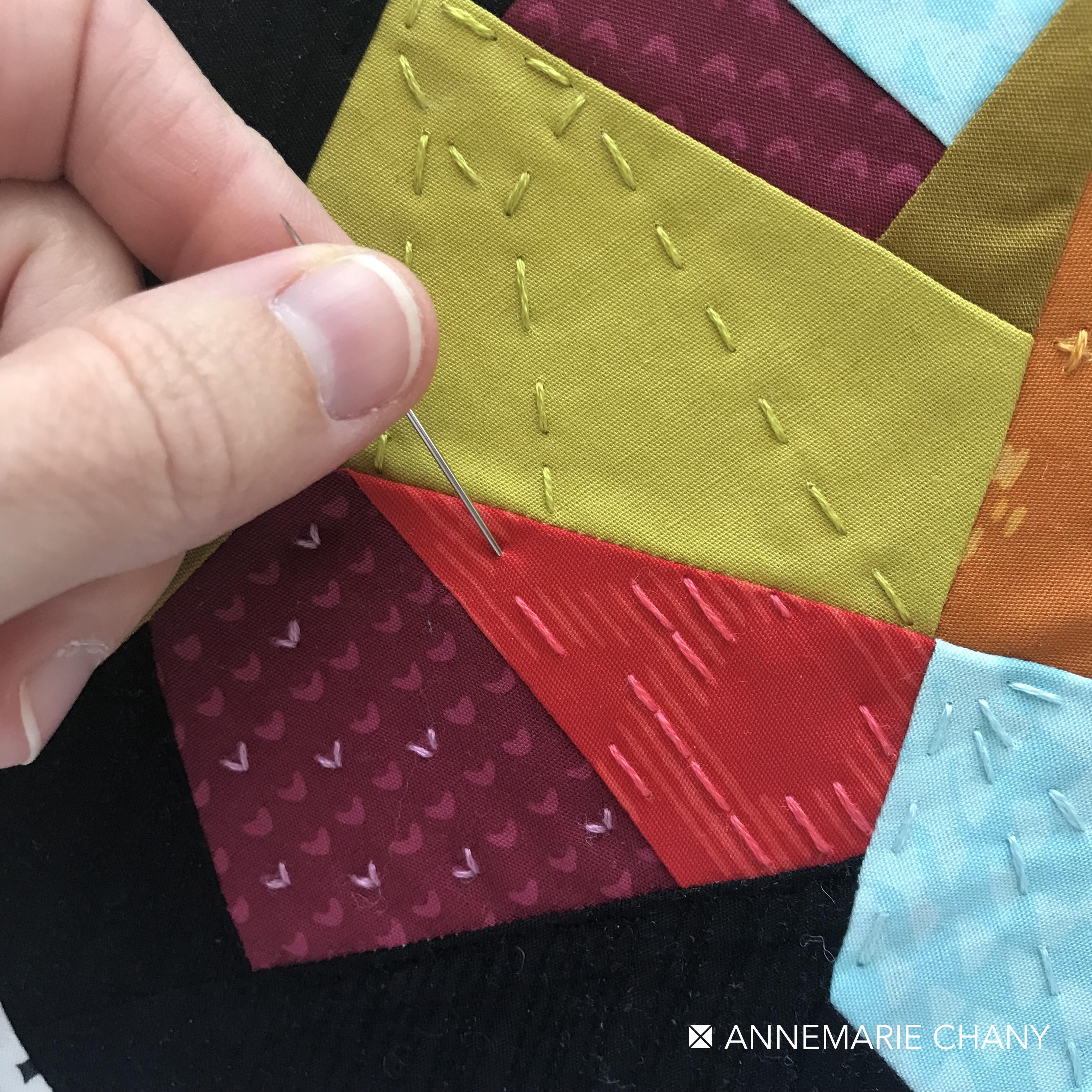 Improv Hoop Quilt Stitching Details