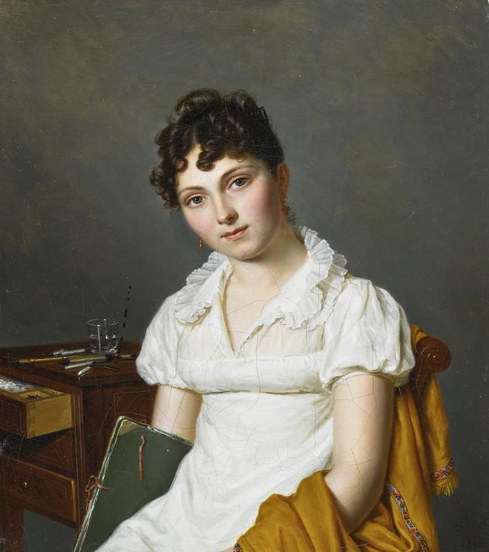 Pierre Louis Bouvier - Portrait of a Lady Half Length Holding an Artist's Portfolio