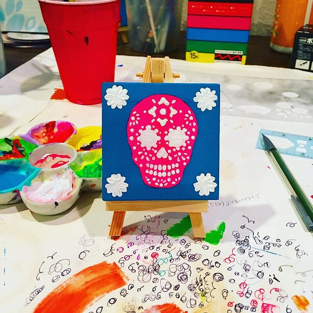 Working on a new sugar skull painting for my Aunt Claire. 💖