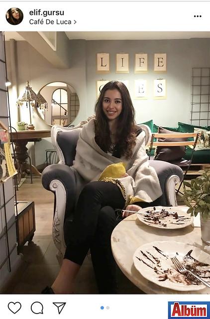Elif Gürsu, Cafe De Luca'da keyifli bir akşam geçirdi.