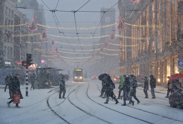 Snow storm in the heart of Amsterdam