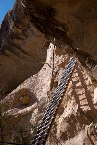 A 2-storey ladder up to Balcony House at Mesa Verde in Colorado in the American Southwest